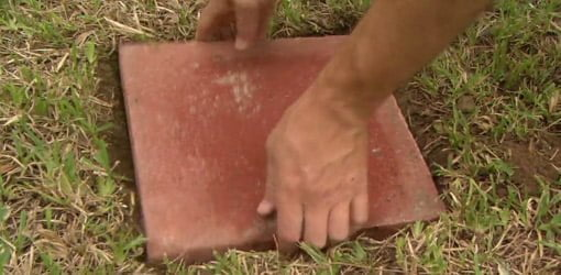 Positioning stepping stone in hole