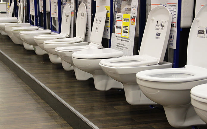 Row of toilets lined up in a showroom in Moscow, Russia