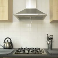 Kitchen range hood over stove.
