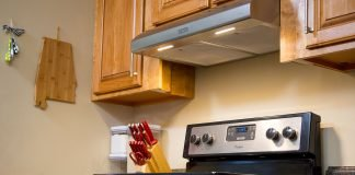 Range hood with lights on in an Alabama kitchen