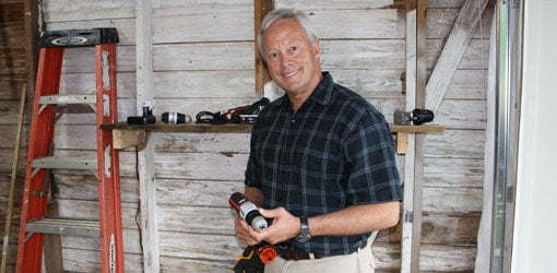 Danny Lipford with tools to tackle DIY home improvement projects.