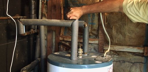 Turning off water to hot water heater.