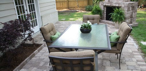 Completed paver patio and outdoor fireplace.