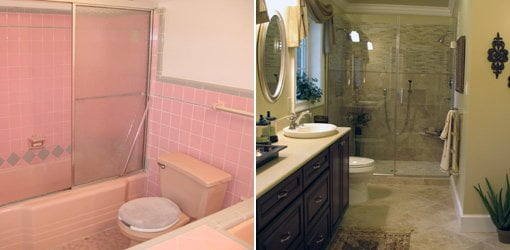 Outdated bathroom before remodeling and luxurious renovation after.