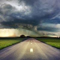 Storm over highway.