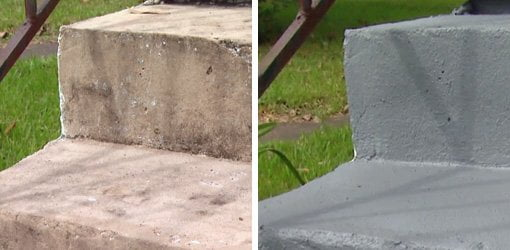 Concrete steps before and after applying textured concrete coating.