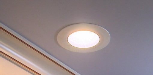 Commercial Electric LED disk light installed on ceiling.