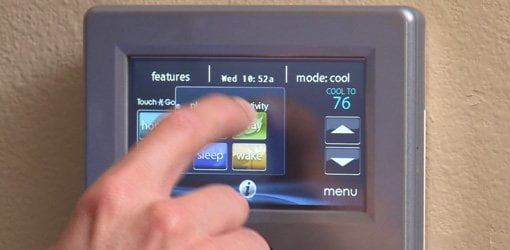 Carrier Infinity Touch thermostat control.