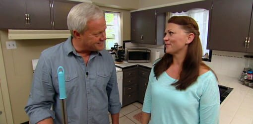 Danny Lipford and April Spencer testing home infomercial products.