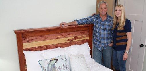 Completed cedar headboard in bedroom.