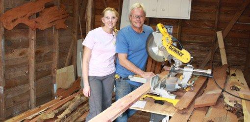Danny Lipford and daughter Chelsea building cedar headboard.