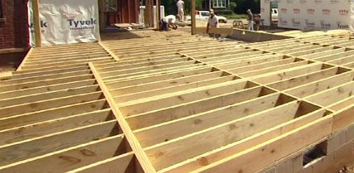 Floor joists for home addition.
