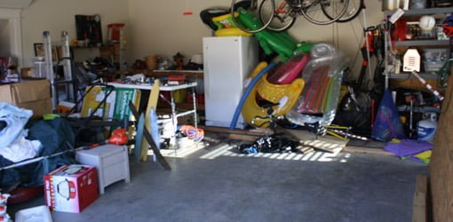 Garage before cleaning and organizing.