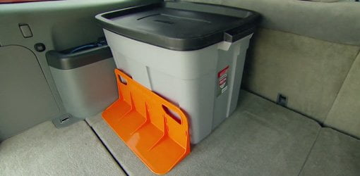 Rubbermaid Roughneck storage container and Stayhold Cargo Companion.