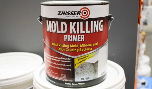 Gallon can of Zinsser Mold Killing Primer.