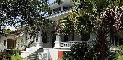 Exterior of historic Ford home in the Oakleigh Garden District in Mobile, Alabama.