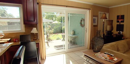 New energy efficient, insulated sliding glass doors.