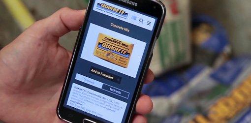 Smartphone using Quikrete app.