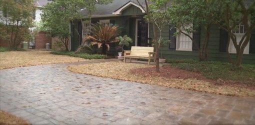 Concrete and masonry sealer on paver driveway.