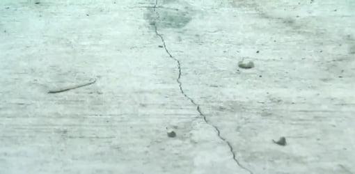 Crack in concrete slab.