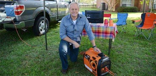 Danny Lipford tailgating with Generac iQ2000 portable generator..