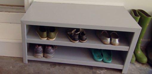 DIY drop zone shoe cabinet.