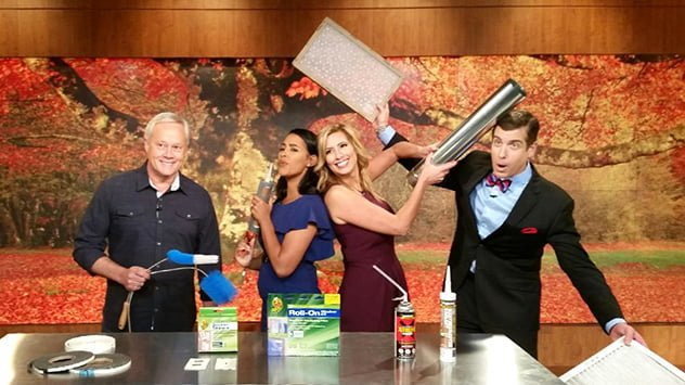 """Danny Lipford on the set with """"America's Morning Headquarters"""" hosts Anaridis Rodriguez, Stephanie Abrams and Reynolds Wolf."""