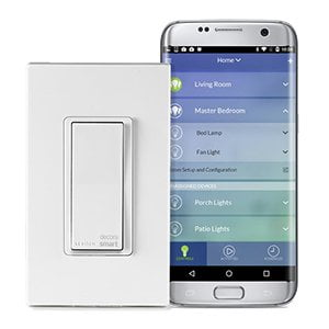 Switches and dimmers from Leviton can be controlled using your smartphone.