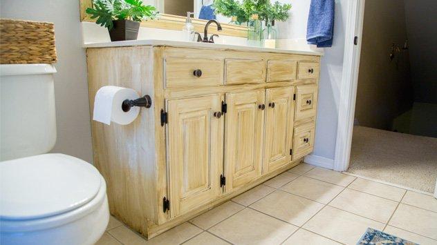 Glazed Bathroom Cabinet Update