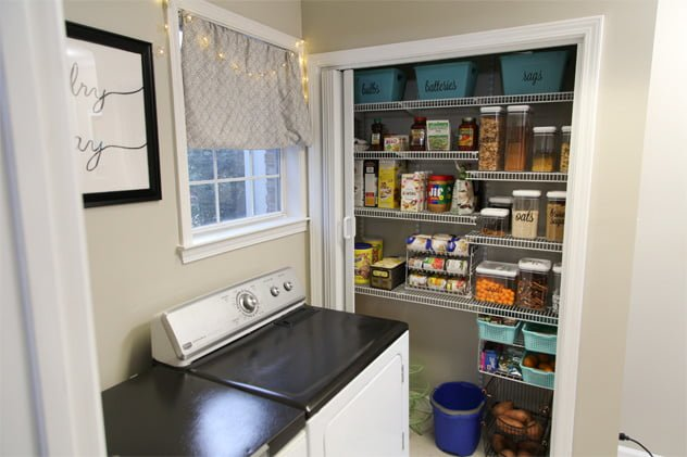 Double-Duty Laundry Room and Pantry Closet Storage