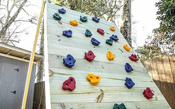 DIY wood climbing wall