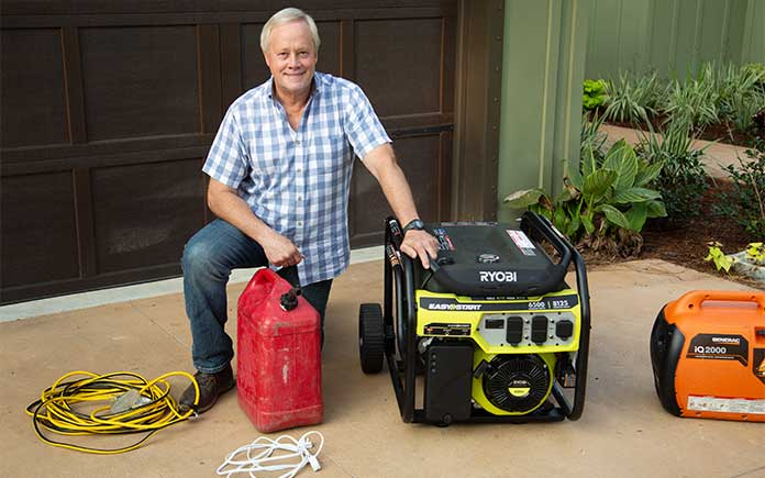 """""""Today's Homeowner"""" host Danny Lipford, pictured with a generator and a gas can"""