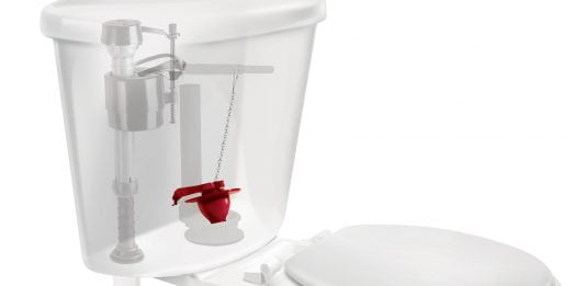 Illustration of a toilet with a see-through tank and a red Fluidmaster flapper