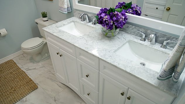 Marble bathroom after the renovation