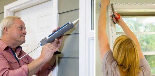 Danny Lipford caulks around a home's windows while Chelsea Lipford Wolf applies window insulation.