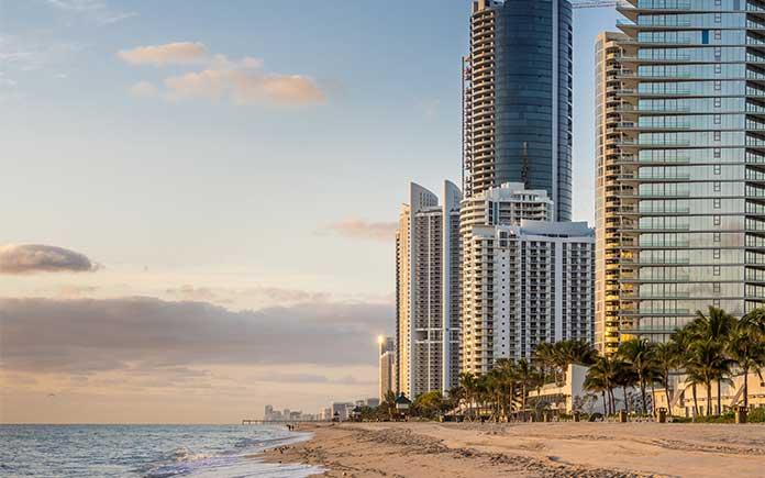 Panoramic view of Sunny Isles Beach in Miami, Florida
