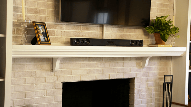 Fireplace with limewash