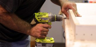 Power drill in operation