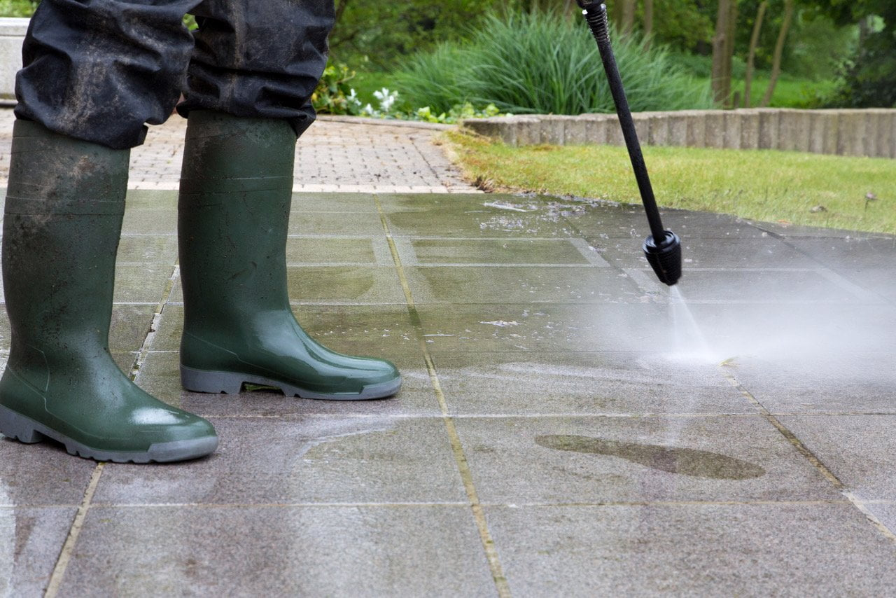 Always pressure-wash your concrete patio — and let it thoroughly dry — before sealing it.