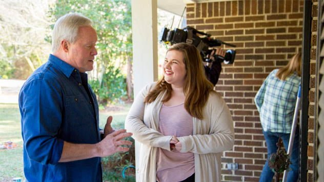 "Danny Lipford visiting with a homeowner before taping an episode of ""Today's Homeowner."""