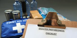 Hurricane supplies and clipboard