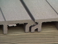 Composite tongue and groove decking.
