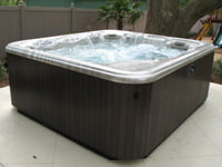 Hot tub on patio.