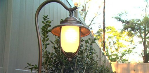 Carriage style landscape lighting.