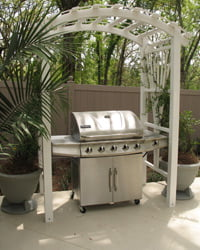 Grill with wooden arbor.