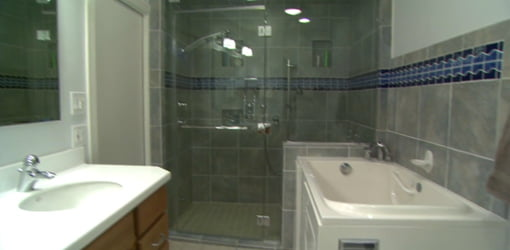Sink, shower, and tub that have been adapted for easier access.