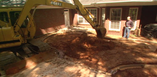 Excavating for swimming pool.