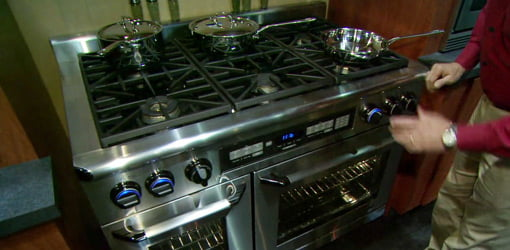 Stainless steel stove with cooktop
