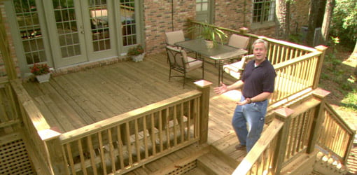 Danny Lipford on newly built wood deck addition.