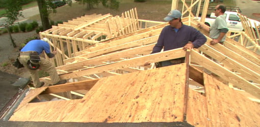 Working on framing the roof for the addition.